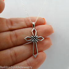 Cross Necklace - 925 Sterling Silver *NEW Cross Pendant Necklace Faith Religion