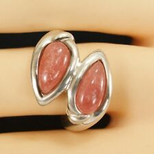 Genuine Rhodonite Ring 925 Sterling Silver Brand New 6.40 ctw Size 7 ss