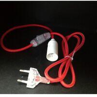 Tischlampe Anschlusskabel Netzkabel Lampenkabel Rot E14 Fassung Schalter Stecker