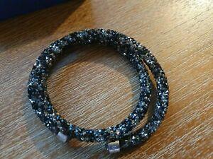 New Swarovski Crystaldust Double Bracelet Black grey wrap BNIB