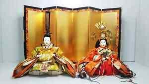 Antique Japanese Hina dolls in glass case 50-60 year Showa era Royal Wedding