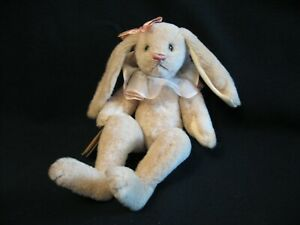 """LENORE DEMENT JUST WEE BEARS 11"""" Rabbit Jointed Alpaca Fur 1992 Hand Made Signed"""