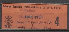 5142-2 pts sello cuota falange española Almansa,Albacete 1942.Spain Revenue.Espa