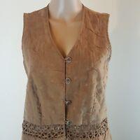 Action Wear Women's Vest Brown Lattice Size Small Vintage