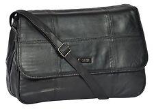 Womens Cross Body Black Soft Leather Bag Classic Flap Over Shoulder Handbag INA