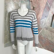C&C California Striped Blouse Sweater Knit White Blue Grey Top R SZ Medium