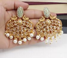 Indian Bollywood Gold Plated Kundan Pearl Pista Earrings Jhumka Wedding Jewelry
