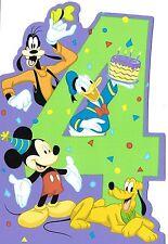 Disney Mickey and Characters Turning 4 Happy 4th Birthday Hallmark Greeting Card
