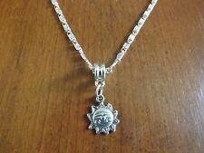 collier chaine argenté 41,5 cm avec pendentif soleil 16x13 mm