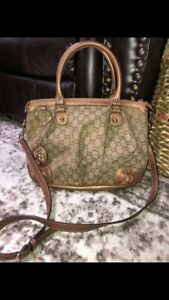 Authentic MINT GUCCI Metallic Bronze Sukey Leather Signature Tote Bag-RARE-$2200