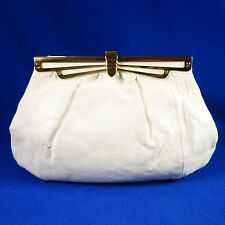 Stefano White Embossed Snakeskin Leather Clutch w/ Gold Tone Chain Strap Option