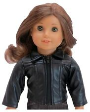"""Black Faux Leather Biker Motorcycle Jacket fits 18"""" American Girl Size Doll"""
