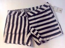 NEW VOLCOM Stripe Shorts Size 3 Black White Stretch Flat Front Straight Pants