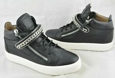 Giuseppe Zanotti Men's Black Leather Chain Embellished Sneaker Size 9 M