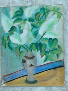 Still Life flower Art Nouveau Painting Pastell Unsigned 14@12