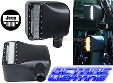 2007-2016 Jeep Wrangler JK Off Road Led Mirror w/ Turn Signal Lights 27W 6K PAIR