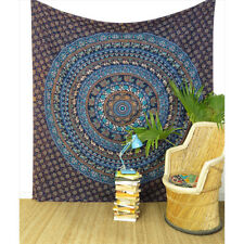 Large Queen Blue Indian Hippie Mandala Tapestry Bedspread Beach Blanket Dorm Boh