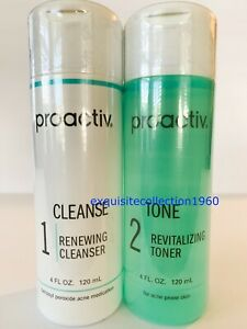 Proactiv 4oz Renewing Cleanser + 4 oz Revitalizing Toner Tone Combo EXP 04/2022