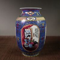 "7.3"" Chinese Porcelain Colour Enamels Ancient Beautiful Woman Wax Gourd Vase 3#"