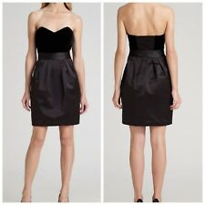 THEORY Womens Black Dress sz 6 Strapless Sateen Velvet Cocktail Party Prom $431