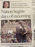 Death of 40th US President Ronald Reagan June 07 2004 Historic Newspaper