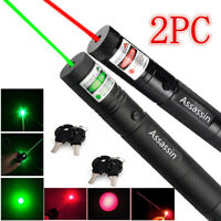 2PCS Teaching 800Mile Green/Red Laser Pointer Pen Astronomy Visible Beam Pet Toy