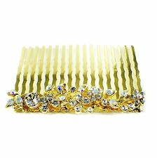 Hair Comb Austrian Rhinestone Crystal  Hairpin Bridal Wedding Gold Clear 1-11