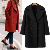Women Winter Warm Trench Woolen Parka Long Loose Coat Outwear Long Lapel Jacket