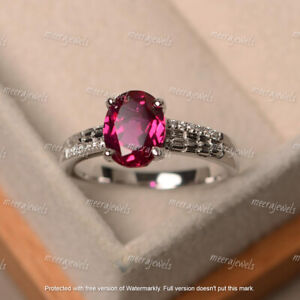 3Ct Oval Cut Red Ruby Diamond Solitaire Engagement Ring In 14K White Gold Finish