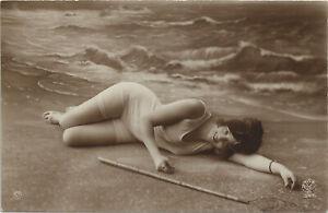 Original French real photo postcard seaside bathing beauty 1920s RPPC pc #440