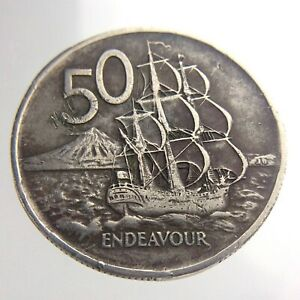 1967 New Zealand 50 Cents Copper Nickel KM 37.1 Circulated Endeavour Coin T920