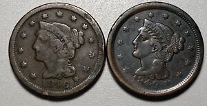 1846 and 1849 Braided Hair 1C Large Cents