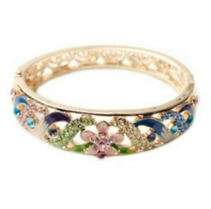 Multi Coloured Crystal Enamelled Bangle In Gold Tone Bnwt Size 7