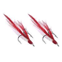 20pcs Saltwater Fishing Treble Hooks With Feather Dressed Baitholder Hook Tackle