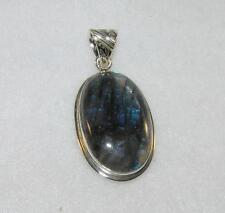 Labradorite Long Oval Pendant with Border 925 Sterling Silver
