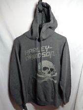 harley davidson hoody hoodie pullover skull crossbones gray adult small wyoming