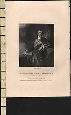 c1850 ANTIQUE PRINT ~ ALEXANDER LORD VISCOUNT BRIDPORT ~ ADMIRAL OF THE RED