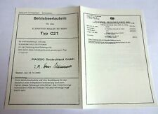 abe vespa PIAGGIO C21 NRG50 Betriebserlaubnis PAPIERE DOKUMENTENQUALITÄT BLANCO