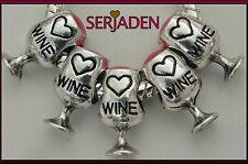 5 Little Red Wine Glass Charms Fits European Jewelry 7 x 13 mm & 5 mm hole S034
