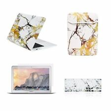 """4 IN 1 Macbook Air 13"""" White/Gold Marble Matte Case + Keyboard Cover + LCD + Bag"""
