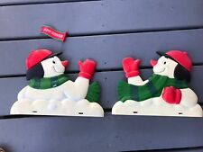 Vintage Snowman Christmas Mailbox Toppers - Set of 2