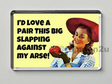 Quality Retro Fridge Magnet, I'd Love A Pair This Big Slapping Against My Arse!
