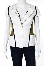 Fendi Cream Multi Color Cotton Short Sleeve Zip Up Jacket Size European 38