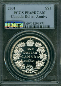 2001 1911 CANADA $1 SILVER DOLLAR PR69 MAC UHCam 90TH ANNAVERSARY *