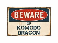 "Beware Of Komodo Dragon 8"" x 12"" Vintage Aluminum Retro Metal Sign VS241"