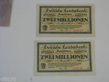 2 GERMANY HESSISCHE LANDESBANK 2 MILLION MARK 1923 NOTES 2,000,000 INFLATIONARY