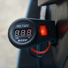 Motorcycle Waterproof Red LED Digital Voltmeter Socket Switch DC 12Volt