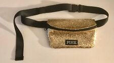 NWOT VICTORIA'S SECRET PINK BLACK GOLD GLITTER LOGO WAIST FANNY PACK BELT BAG