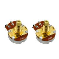 2PCS Full Size A250K Guitar Bass Pots Tone Potentiometers Gold Long Shaft Pots