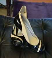 Nine West Women's Black and Tan Slip On Pumps With Stiletto Heels Size 7.5M
